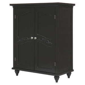 Dark Espresso Wood Bathroom Floor Cabinet with Traditional Crafted Engraving Doors