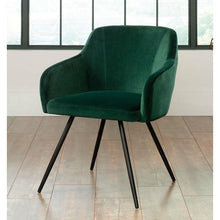 Load image into Gallery viewer, Emerald Green Upholstered Mid-Century Low Back Armchair Steel Legs