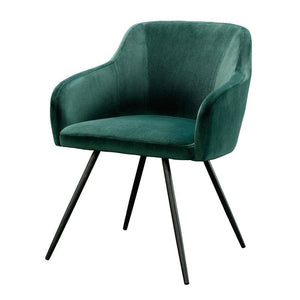 Emerald Green Upholstered Mid-Century Low Back Armchair Steel Legs
