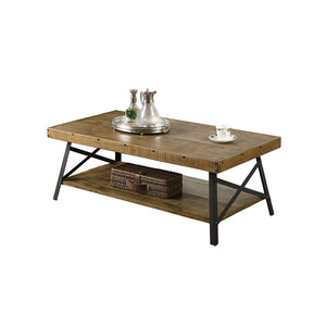 Modern Industrial Style Solid Wood Coffee Table with Steel Legs
