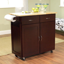 Load image into Gallery viewer, 43-inch W Portable Kitchen Island Cart with Natural Wood Top in Espresso