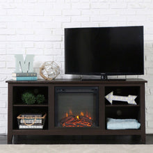 Load image into Gallery viewer, Espresso Wood 58-inch TV Stand Electric Fireplace Space Heater