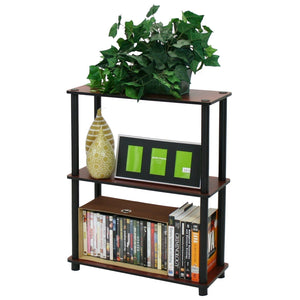 Dark Cherry and Black 3-Tier Shelves Display Bookcase