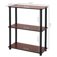 Load image into Gallery viewer, Dark Cherry and Black 3-Tier Shelves Display Bookcase