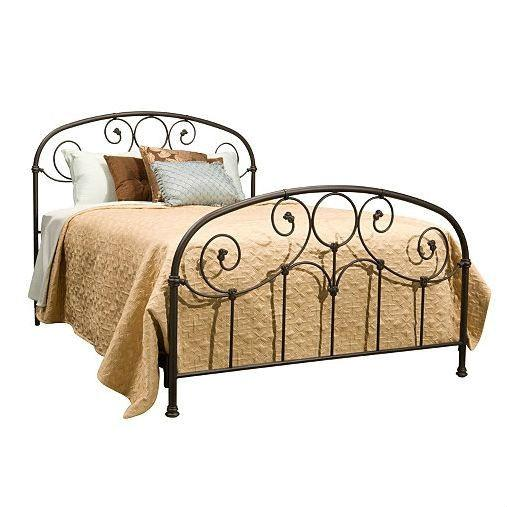 Full size Metal Bed with Softly Rounded Shoulders in Rusty Gold Finish