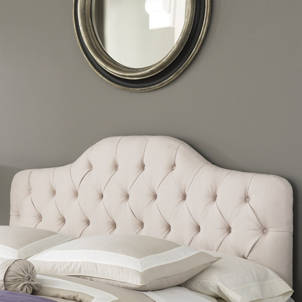 King size Button-Tufted Upholstered Headboard in Ivory Color