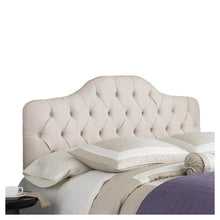 Load image into Gallery viewer, King size Button-Tufted Upholstered Headboard in Ivory Color