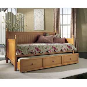 Twin size Contemporary Daybed with Roll-Out Trundle Bed in Maple Wood Finish