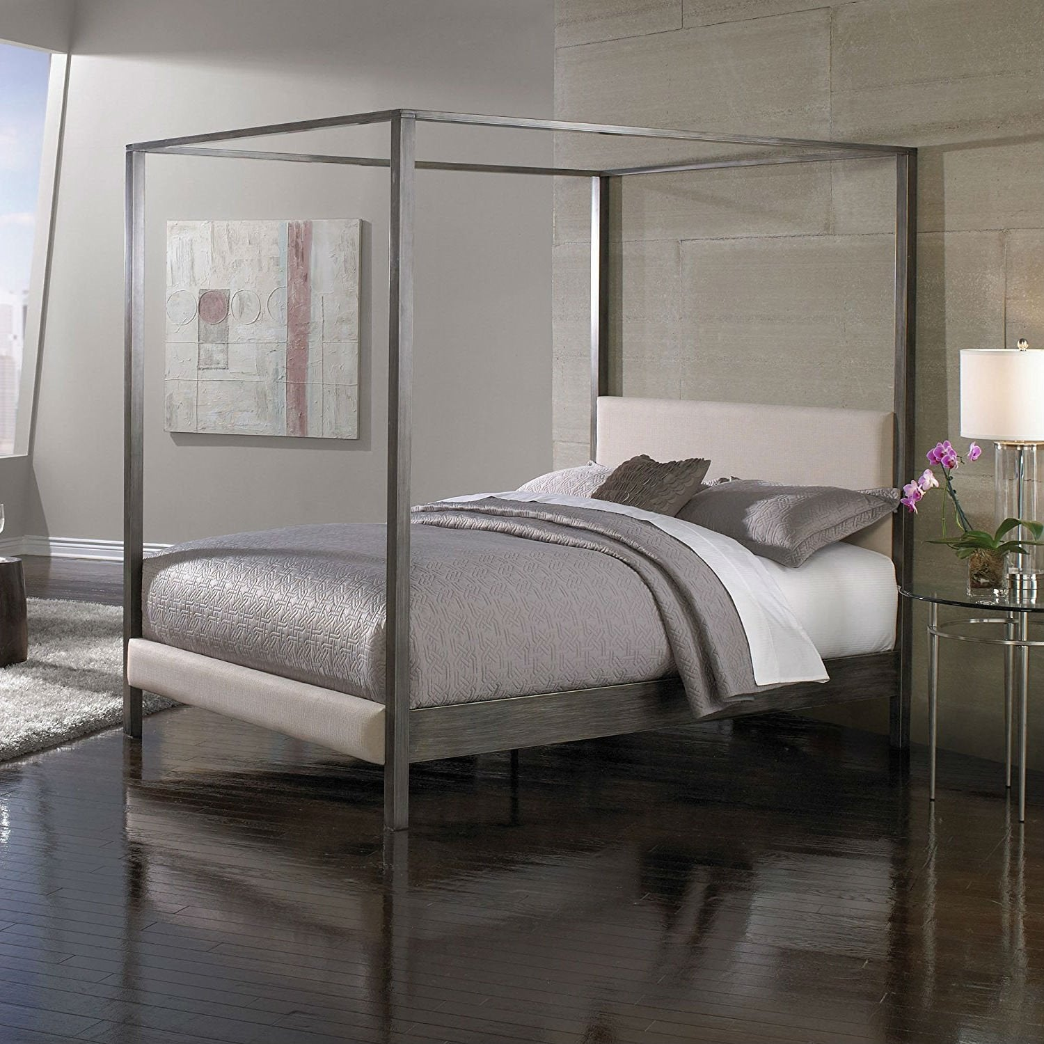 - King Size Upholstered Canopy Bed Frame With Wood Slats In Platinum