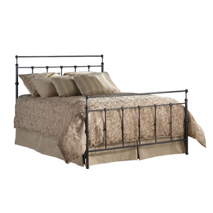 Full size Simple Stylish Metal Bed in Mahogany Gold Finish