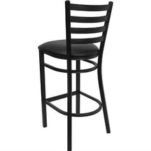 Load image into Gallery viewer, Black Metal Ladder-Back Restaurant Style Bar Stool