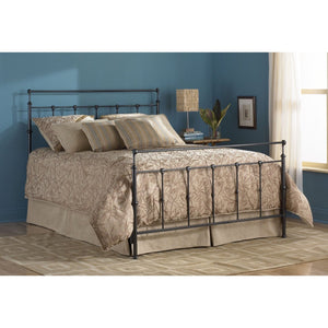 Queen size Metal Bed with Headboard and Footboard in Mahogany Gold Finish