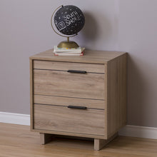 Load image into Gallery viewer, Modern 2-Drawer End Table Nightstand in Light Oak Wood Finish
