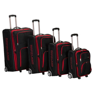 Rockland 4PC EVA LUGGAGE SET, BLACK with Red Trim