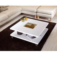 Load image into Gallery viewer, Modern Square Coffee Table in White Wood Finish with Bottom Shelf