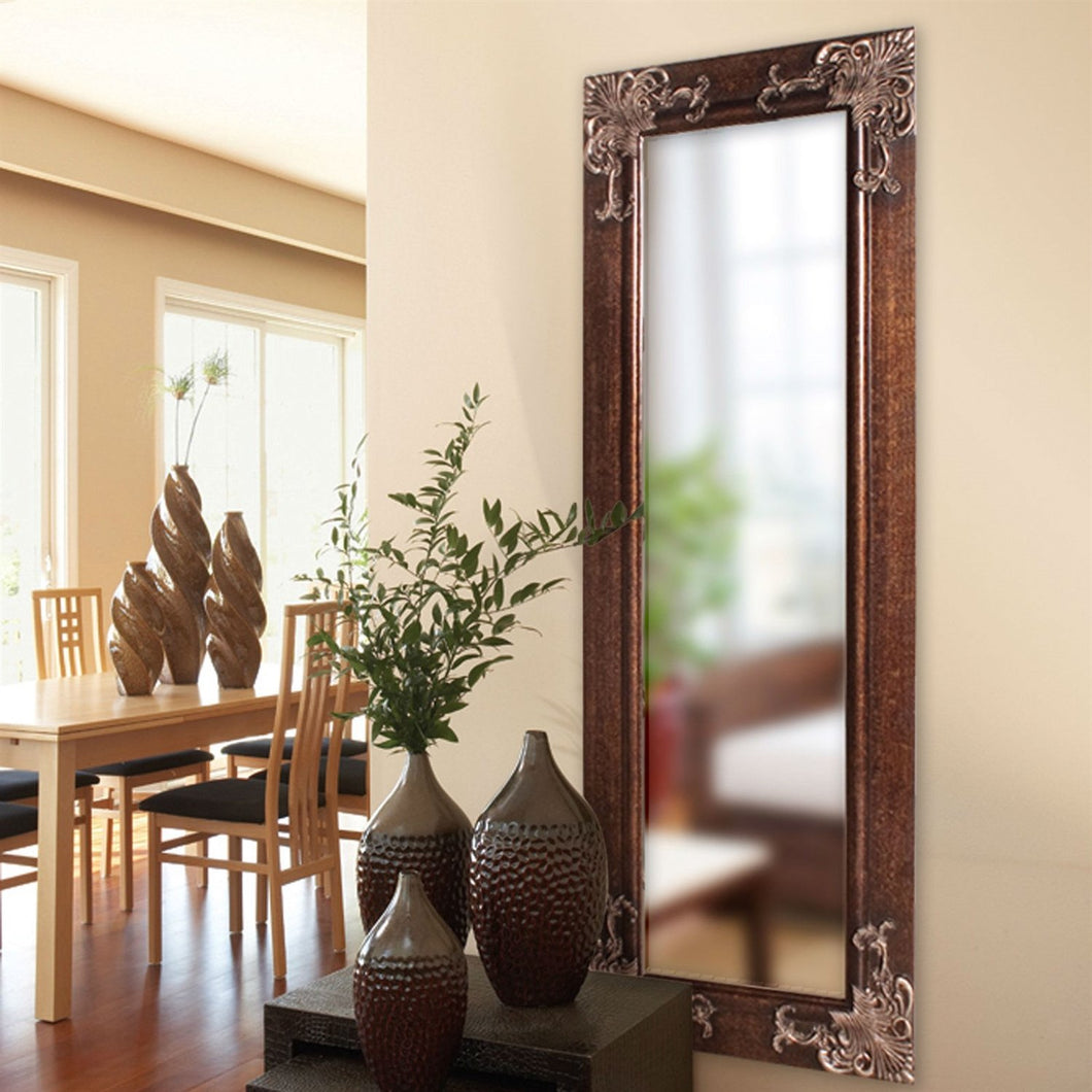 Full Length 63-in Wall Mirror with Quality Wood Frame and Antique Silver Gold Accents