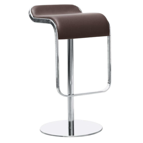Contemporary Stainless Steel Barstool Chair with brown leather seat