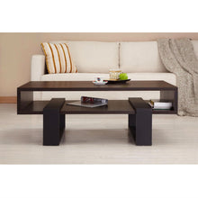 Load image into Gallery viewer, Modern Coffee Table in Black and Walnut Brown Finish