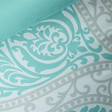 Load image into Gallery viewer, Full / Queen Teal Turquoise Aqua Blue and White Damask Comforter Set