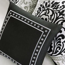 Load image into Gallery viewer, Full / Queen 5-Piece Black White Damask Print Comforter Set