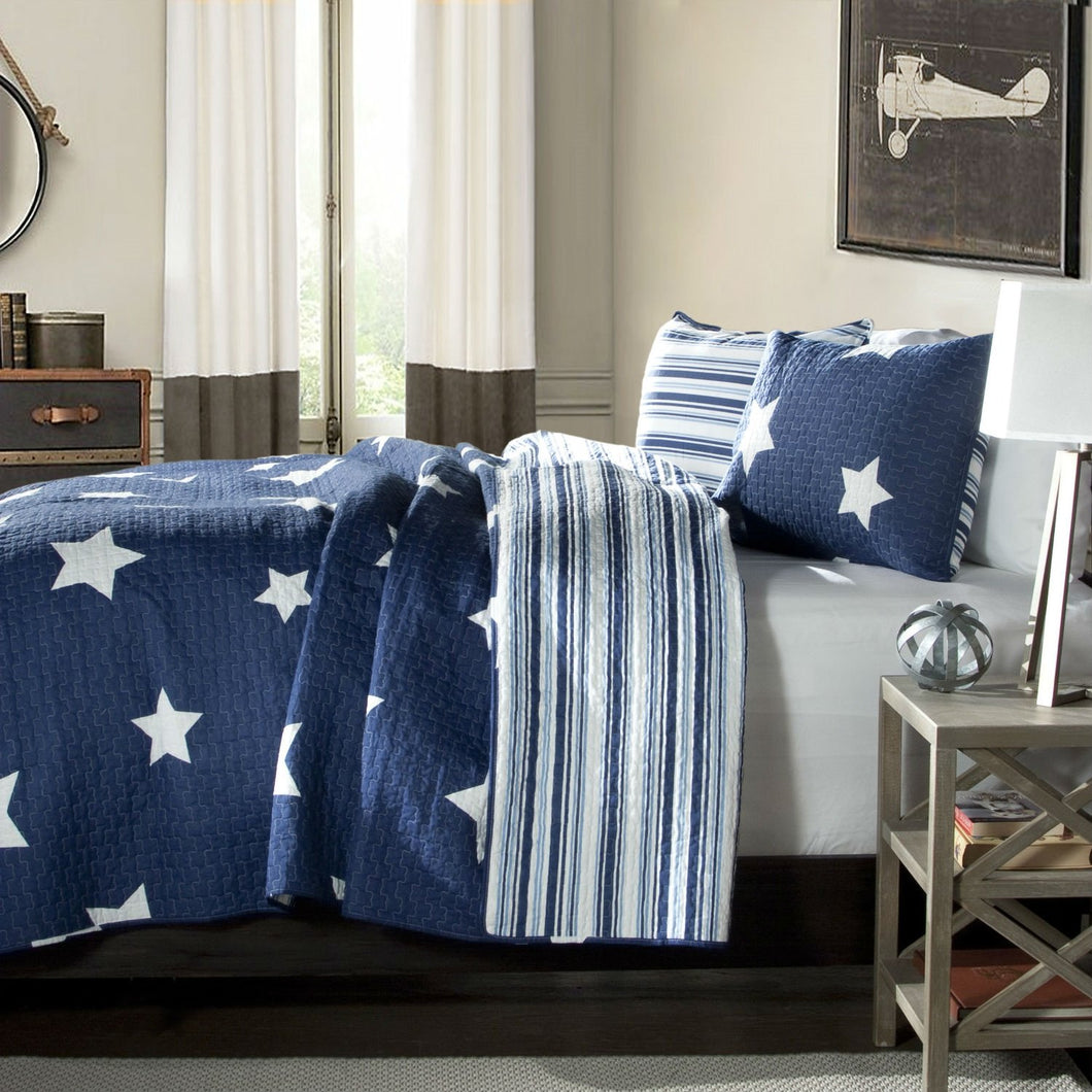 Full / Queen Navy Stars And Stripes At Night Quilt Coverlet Bedspread Set