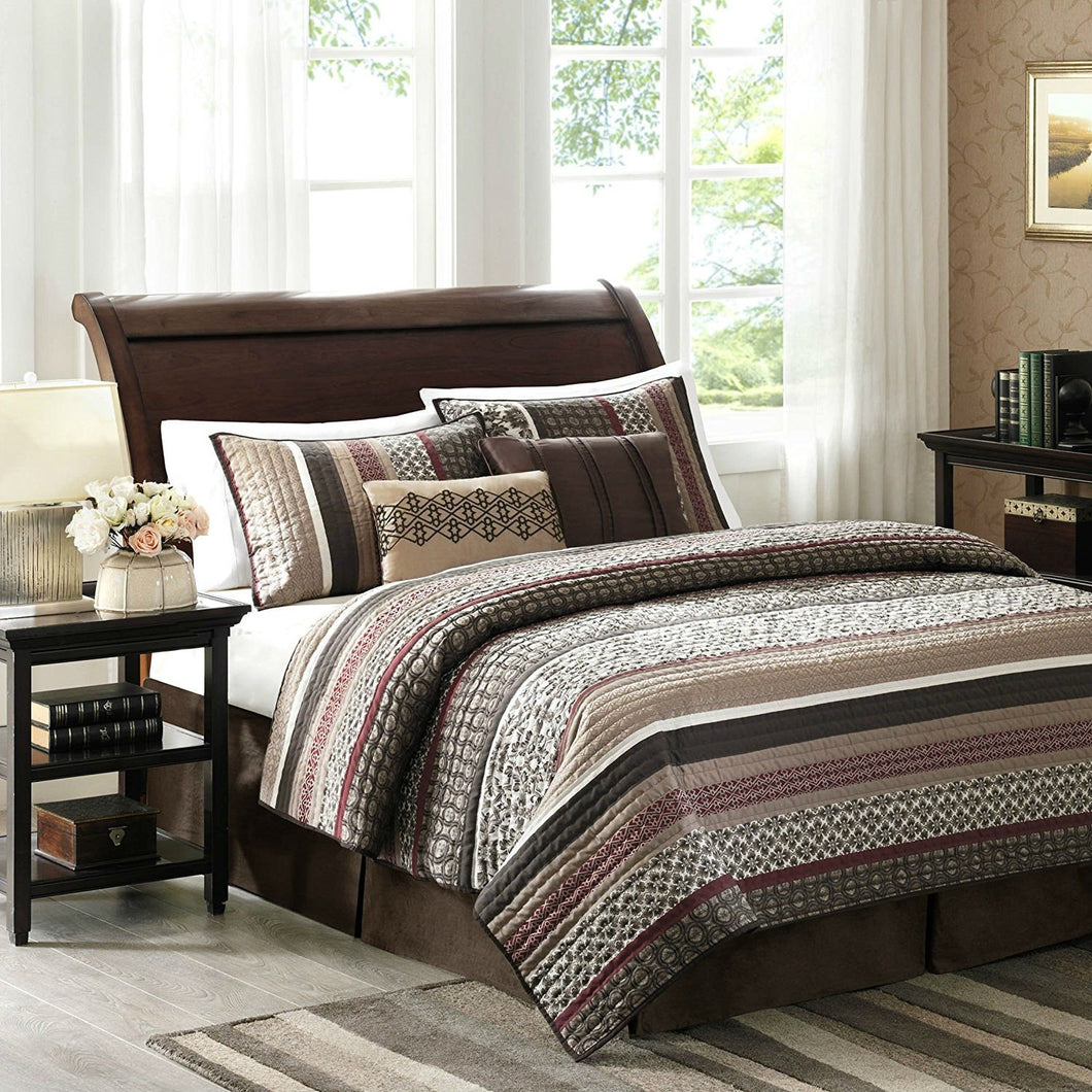 Full / Queen Red Cream Espresso Leaf Stripped 5-Piece Quilt Coverlet Set