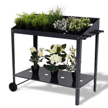 Load image into Gallery viewer, Modern Black Steel Raised Planter Stand Cart with Wheels
