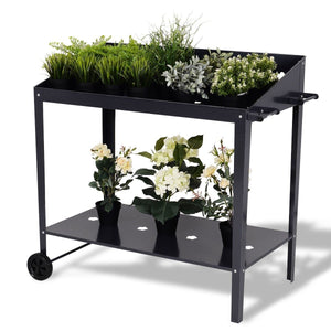 Modern Black Steel Raised Planter Stand Cart with Wheels