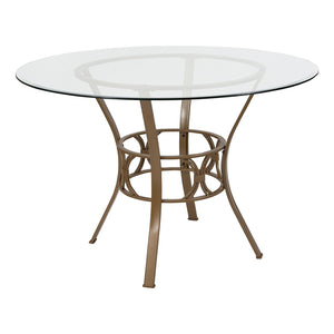 Round 45-inch Clear Glass Top Dining Table with Matte Gold Metal Frame