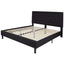 Load image into Gallery viewer, King Black Fabric Upholstered Platform Bed Frame with Button Tufted Headboard