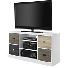 Load image into Gallery viewer, White Wood Finish TV Stand with Multi Wood Grain Finish Drawer Door Fronts
