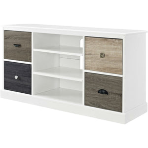 White Wood Finish TV Stand with Multi Wood Grain Finish Drawer Door Fronts