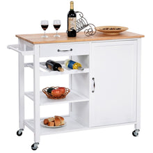 Load image into Gallery viewer, Modern White Kitchen Island Cart with Wood Top and Wheels