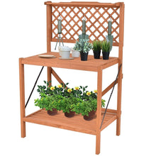 Load image into Gallery viewer, Folding Wooden Garden Workstation Potting Bench with Shelf