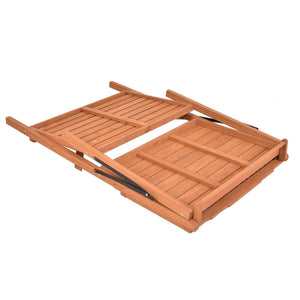 Folding Wooden Garden Workstation Potting Bench with Shelf