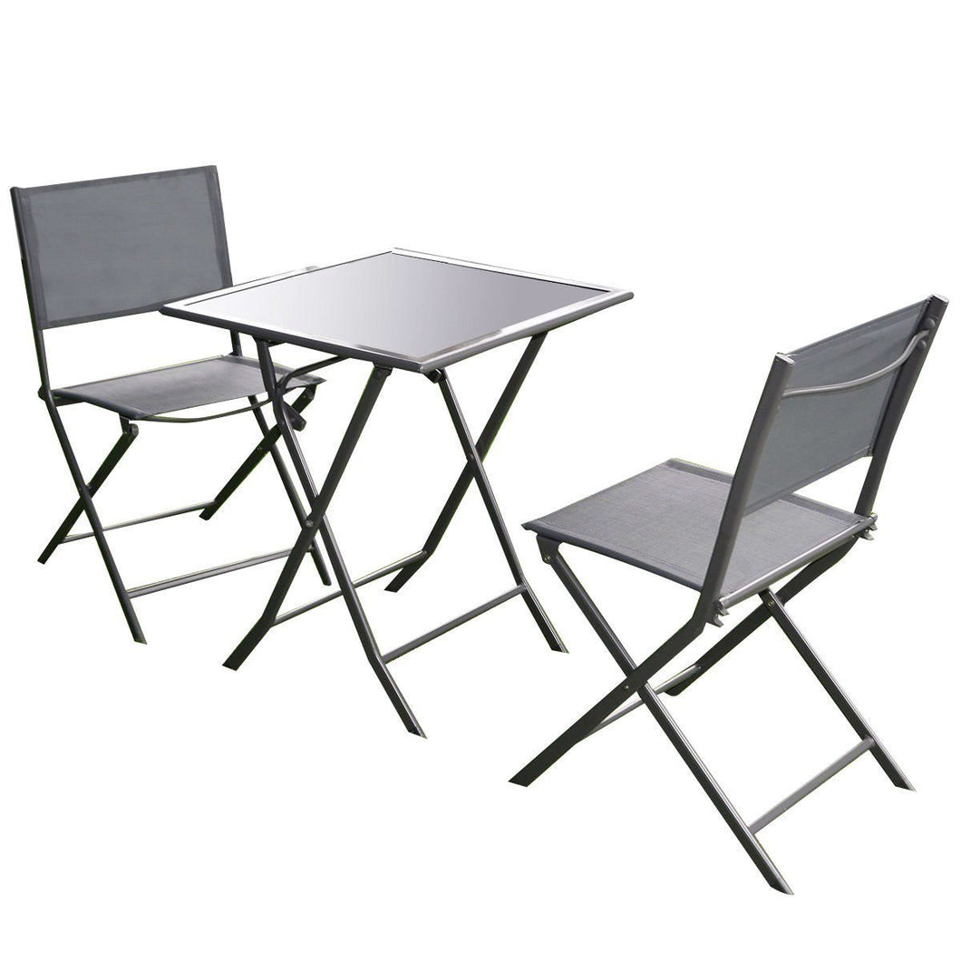 Outdoor 3-Piece Patio Furniture Folding Table Chair Set