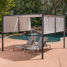 Load image into Gallery viewer, Heavy Duty Steel Frame Outdoor Gazebo Pergola with Beige Fabric Sun Shade
