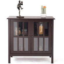 Load image into Gallery viewer, Brown Wood Sideboard Buffet Cabinet with Glass Panel Doors
