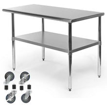 Load image into Gallery viewer, Stainless Steel 48 x 24-inch Kitchen Prep Table with Casters