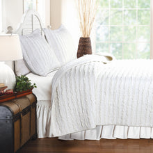 Load image into Gallery viewer, King size 3-Piece Quilt Set with 2 Pillow Shams 100% Cotton White Ruffles
