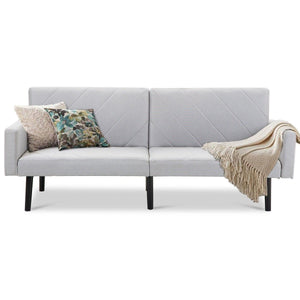 Modern Gray Linen Split-Back Futon Sofa Bed Couch