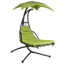 Load image into Gallery viewer, Lime Green Single Person Sturdy Modern Chaise Lounger Hammock Chair Porch Swing