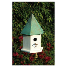 Load image into Gallery viewer, White Wood Bird House with Verdi Green Copper Roof - Made in USA