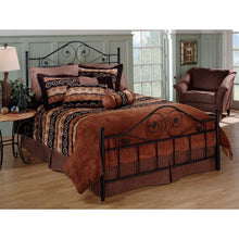 Load image into Gallery viewer, Queen size Black Metal Bed with Scrollwork Headboard and Footboard