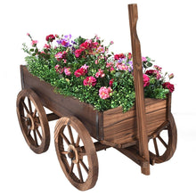 Load image into Gallery viewer, Mobile Half Barrel Solid Wood Planter Box on Wooden Wheels