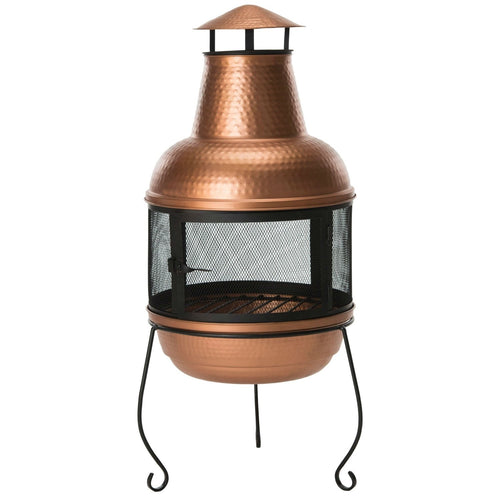Hammered Copper and Iron Chiminea Fire Pit with Stand