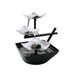 Illuminated Silver Water Springs Relaxing Table Fountain with Stones