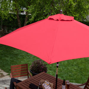 Outdoor 9-Ft Wood Patio Umbrella with Red Canopy Shade