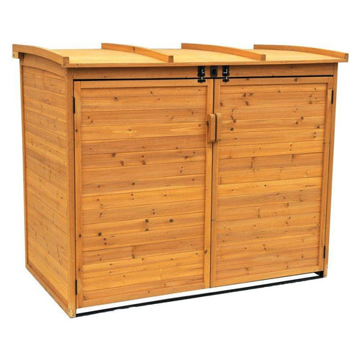 Outdoor 65 x 38 inch Wood Storage Shed for Trash Garbage Recycle Bins