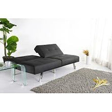 Load image into Gallery viewer, Black Leatherette Foldable Click-Clack Futon Sofa Bed